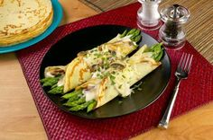 Savory, creamy crepes filled with fresh asparagus and mushrooms.