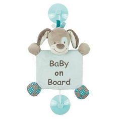 """Accessoire de voiture """"baby on board"""" chien bleu avec ventouse, Gaston & Cyril"""
