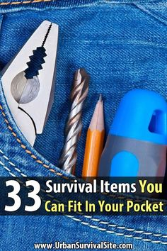 These 33 items could help save your life in a survival scenario, and better yet--they're small enough to fit in your pocket! Survival Items, Survival Equipment, Urban Survival, Survival Food, Homestead Survival, Camping Survival, Outdoor Survival, Survival Prepping, Emergency Preparedness