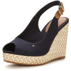 Tommy Hilfiger Elena Espadrille Wedge Sandal ($100) ❤ liked on Polyvore featuring shoes, sandals, navy blue wedge sandals, navy sandals, leather wedge sandals, red wedge shoes and summer sandals