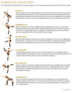 "Ballet Fitness - keep in shape . well I definitely used to do most of these in ballet so no wonder they would create a ""ballet body"" Pilates, Cardio Barre, Barre Moves, Dancer Workout, Ballerina Workout, Dancer Body Workouts, Ballet Barre Workout, Back Strengthening Exercises, Body Exercises"