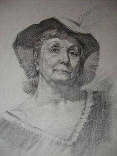 Portrait of the old woman by on DeviantArt Portrait Sketches, Pencil Portrait, Art Drawings Sketches, Portrait Art, Cute Drawings, Pencil Drawings, Fine Art Drawing, Life Drawing, Painting & Drawing