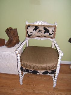 Vintage French Country Burlap & Floral Chair by antique2chic, $425.00