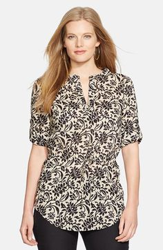 Lauren Ralph Lauren Print Roll Cuff Tunic (Plus Size) available at #Nordstrom