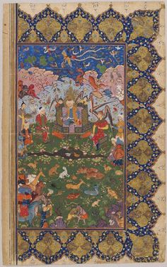 Unknown Artist, Solomon Enthroned with Angels, Beasts, and Demons (painting, verso; Shi'a seals, recto), folio from a manuscript, 16th century | Harvard Art Museums/ Sackler Museum