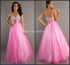 Find More Prom Dresses Information about Free Shipping New Design Custom Made Swetheart Tulle A Line Pink Beaded Prom Dresses,High Quality Prom Dresses from Forever Lover Bridal on Aliexpress.com