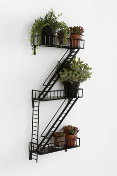 Fire Escape Wall Shelf--might be cute on the exposed brick wall Unique Wall Shelves, Wall Shelves Design, Wall Mounted Shelves, Metal Shelves, Shelving, Cool Shelves, Shelf Wall, Small Shelves, Fire Escape Shelf