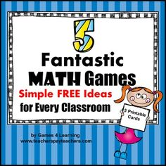 Math+Games+Ideas+Freebie+from+Games+4+LearningThis+is+a+set+of+5+math+games+ideas.+These+are+favorite+math+games+that+I+have+used+again+and+again+in+the+classroom.+The+math+games+are+set+out+on+printable+cards+for+your+convenience.+The+games+can+be+adapted+to+different+skill+levels.