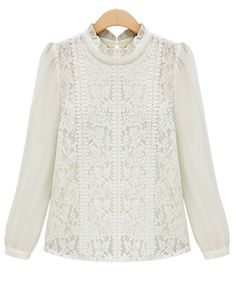 White Long Sleeve Floral Lace Blouse - Sheinside.com