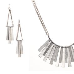Matte Silver necklace and earring