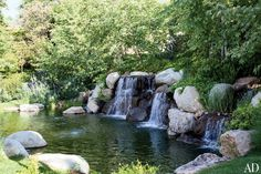 A waterfall and pond.