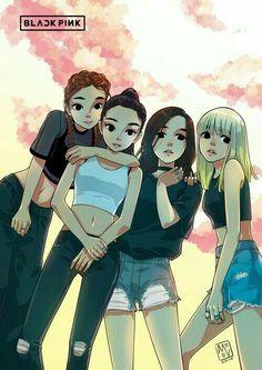 Se caso alguém quiser desenhar elas, recomendo esse desenho! Muito lindo, não? Kpop Girls, Kpop Girl Groups, Anime Girls, Seventeen, Black Pink Rose, Black Pink Kpop, Itslopez, Awesome, Amazing