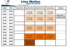 Horário das aulas de costura Lina Matias no Porto.