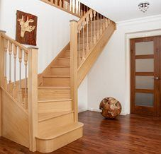 Oak and chrome staircase.