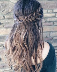 Looking for half up half down hairstyles, here are stunning Beautiful braid Half up and half down hairstyle for romantic brides ,upstyle hair(Hair Braids) Hair Up Styles, Style Hair, Hair Down Prom Styles, Braid Styles, Wedding Hair Down, Straight Wedding Hair, Beautiful Braids, Gorgeous Hair, Hair Dos