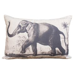 Add a wild touch to your favorite chaise or arm chair with this cotton pillow, featuring an elephant print.  Product: Pillow