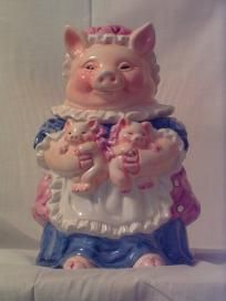 CERAMIC PIG AND PIGLETS COOKIE JAR - EXCELLENT CONDITION BY HERITAGE MINT