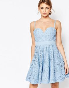 Forever Unique | Forever Unique Lace Mini Prom Dress With Sweetheart Neck at ASOS