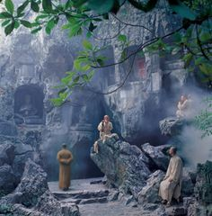 Respecting Culture: Buddha's Footprint, a temple at the peak of a mountain located in the jungle near Krabi, Thailand.