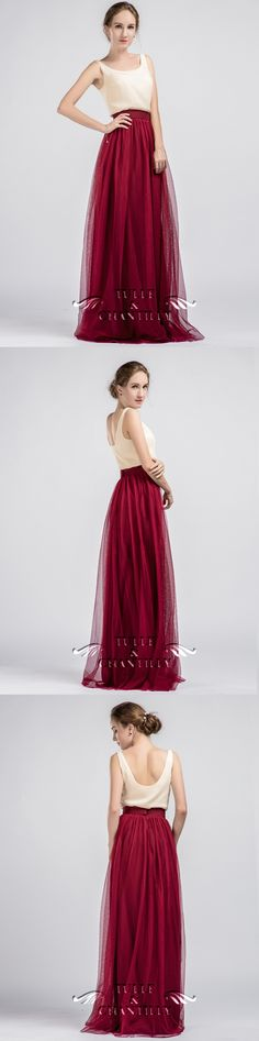 long two tone bridesmaid dress with marsala tulle skirt