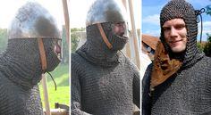 Aventail on High medieval armour, around 1180. Comthurey Alpinum, 1180 a.D. Reenactment