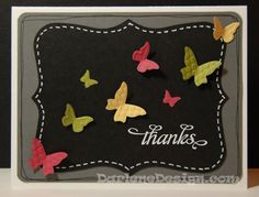 Stampin' Up! Beautiful Wings Embosslits and Top Note Die...this could easily be made into a chalkboard card.