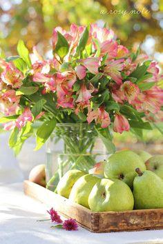 fresh flowers and pears...