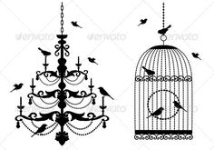 Birdcage And Chandelier - Man-made Objects Objects #silhouettes #animals #characters #isolated #illustration #vector #template #bird #birdcage