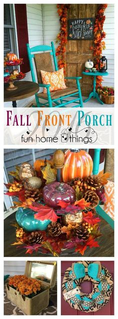 Teal Purple and Orange Fall Front Porch -- Fun Home Things halloween entrees Autumn Decorating, Porch Decorating, Decorating Ideas, Fall Home Decor, Autumn Home, Fall Decor Outdoor, Thanksgiving Decorations, Seasonal Decor, Decoration Inspiration