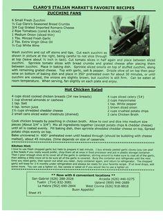 Claro's Zucchini Fans- Hot Chicken Salad
