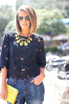Boy Friend Jeans, laser cut top and Statement necklace (color)