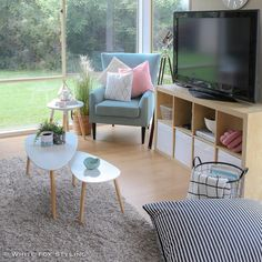 Kmart side tables and awesome storage under TV