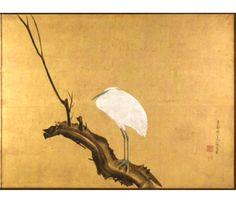 円山応挙 Maruyama Okyo. Heron on a Willow Branch. Right panel. Japanese folding screen. Edo period. 2nd half eighteenth century. The Cleveland Museum of Art.