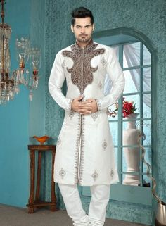 Art Silk  Off White Eid wear designer kurta pajama for men C15210