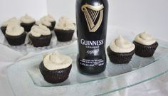 Chocolate Guinness cupcakes with maple whiskey frosting #mantreats