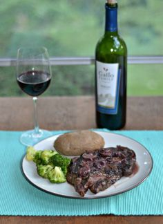 Grilled Ribeye with Merlot Mushroom Sauce is a great way to jazz up steak!  Get this recipe today!