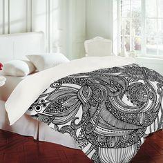 Valentina Ramos Bird In Flowers Black White Duvet Cover