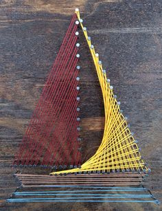 12 X 12 Sailboat Wall String art Nail String Art, String Crafts, Creative Crafts, Diy And Crafts, Arts And Crafts, Arte Linear, Sailboat Art, String Art Patterns, Thread Art