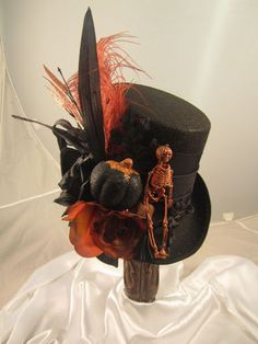 Steampunk Halloween Top Hat Black with Skelton