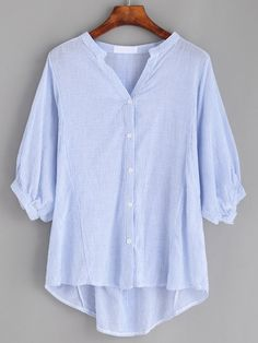 Blue Vertical Striped Band Collar Lantern Sleeve Blouse