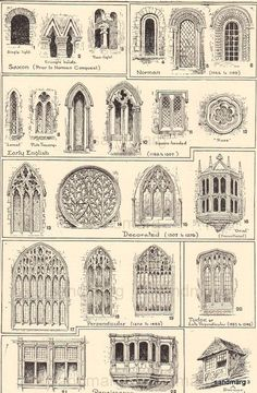 1906 Types of Windows Middle Ages Tudor Renaissance - Architecture Designs 1906 Types of Windows Middle Ages Tudor Renaissance Make the front of the house look medieval with gothic windows, stone front and large wooden door. Architecture Design, Architecture Drawings, Victorian Architecture, Ancient Architecture, Italy Architecture, Famous Architecture, Historical Architecture, Gothic Windows, Window Design