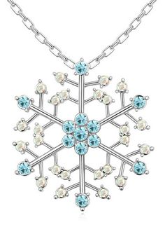 XCrystal - Beyond the Rack 18k White Gold Plated Festive Cable Chain Necklace in Blue