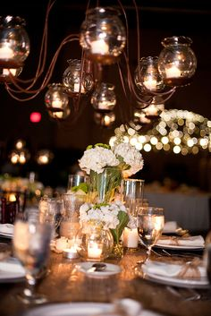 Wedding Reception - Rustic decor for table