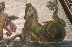 mosaic, detail from floor at the Hermitage Museum, St Petersburg, Russia Ancient Rome, Ancient Art, Ancient Greek, Ancient History, Fresco, Doodle, Mosaic Animals, Witch Art, Greek Art
