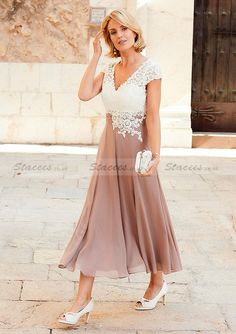 Chiffon Dress A-Line/Princess V-Neck Tea-Length With Lace.