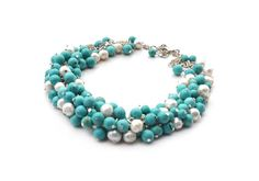 Necklace with cultured pearls and turquoise howlite, for her, original necklace, gemstones, turquoise white, OOAK