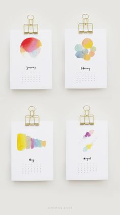 somethingpeach.com // Free Printable 2016 Watercolour Calendar