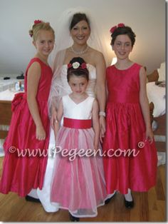 flower girl dresses and jr bridesmaids in lipstick red silk by Pegeen.com Available in infants through girls plus size dresses and over 200 colors of silk.  Walking Down the Aisle With Brides Since 1982.