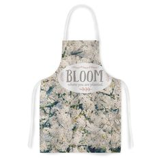 Kess InHouse Robin Dickinson 'Bloom Where You Are Planted' White Floral Artistic Apron