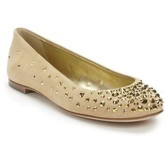 Giuseppe Zanotti Studded Suede Ballet Flats ($417) ❤ liked on Polyvore